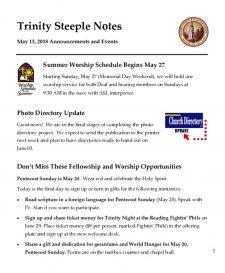 thumbnail of Steeple Notes Week of May 13, 2018